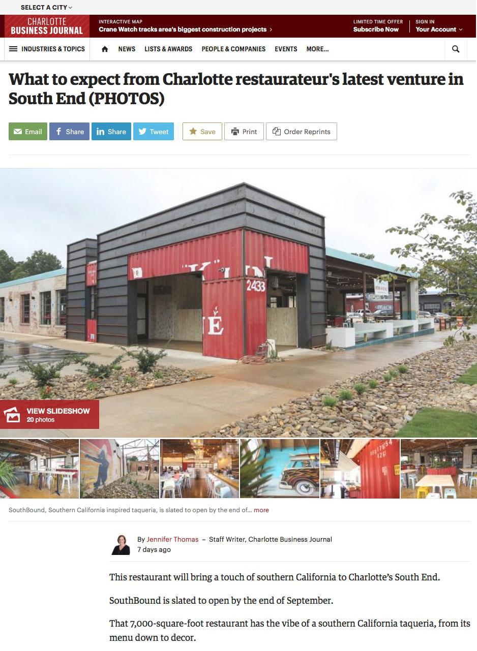 SouthPark City Homes on Charlotte Business Journal website